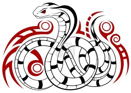 Illustration pour Serpent vecteur, Cobra sous la forme d'un tatouage - image libre de droit