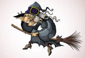 Illustration cheerful witch flying on a broomstick Against the background of a light gray gradient