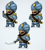 Illustration captain in his turban In the three positions The captain of the idea the captain with a stern expression the captain took out his