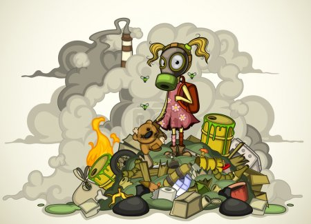 Illustration for Child in a gas mask in dirty clothes standing on a pile of garbage, surrounded by heaps of waste and smoke from factories. On a light gradient background - Royalty Free Image