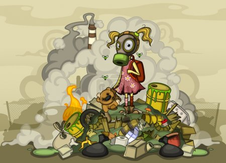 Child in a gas mask in dirty clothes standing on a pile of garbage, surrounded by heaps of waste and smoke from factories.