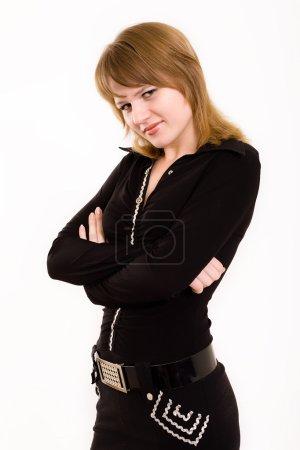 Photo pour La belle fille en costume noir - image libre de droit