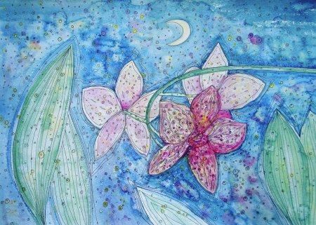Photo for Pink orchids in the blue background - sky,moon,stars... - Royalty Free Image