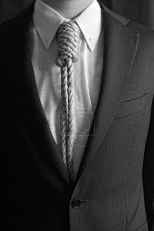 Photo for Detail of businessman with hangman's noose instead of tie symbolizing economic problems - Royalty Free Image
