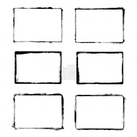 Photo for Set of black grunge frames isolated on white background - Royalty Free Image