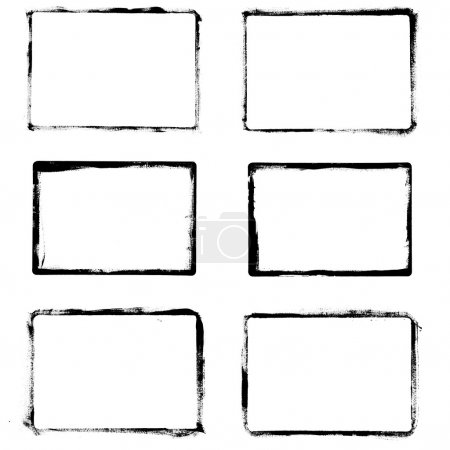 Illustration for Set of black grunge frames isolated on white background - Royalty Free Image