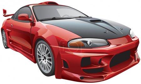 Illustration pour Image vectorielle détaillée de la voiture personnalisée moderne, isolée sur fond blanc. Le fichier contient des dégradés et de la transparence. Pas de mélanges ni de coups. Modifier facilement : le fichier est divisé - image libre de droit