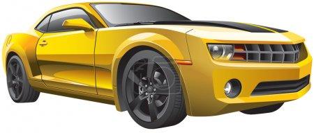 Illustration pour Image vectorielle détaillée de la voiture musculaire moderne, isolée sur fond blanc. Le fichier contient des dégradés et de la transparence. Pas de mélanges ni de coups. Modifier facilement : le fichier est divisé - image libre de droit