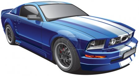 Photo for Detail vector image of blue modern pony car with white racing stripes, isolated on white background. File contains gradients. No blends and strokes. Easily edit: file is divided into logical layers and groups. - Royalty Free Image