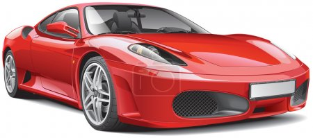 Illustration for High quality vector illustration of red Italian supercar, isolated on white background. File contains gradients, blends and transparency. No strokes. Easily edit: file is divided into logical layers and groups. - Royalty Free Image