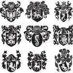 Vector image of black medieval heraldic silhouette...