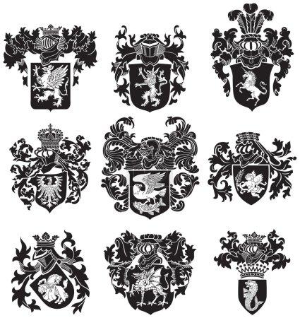 Set of heraldic silhouettes No3