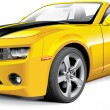 Detail vector image of American muscle car with bl...