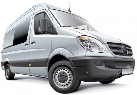 Illustration for Detail vector image of Germany full-size van, isolated on white background. File contains gradients, blends and transparency. No strokes. Easily edit: file is divided into logical layers and groups. - Royalty Free Image