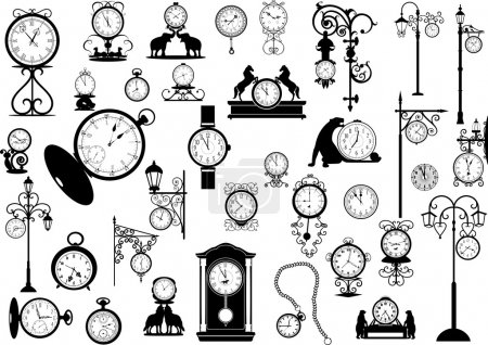 Illustration for Collection of vector clocks and watches, black and white - Royalty Free Image