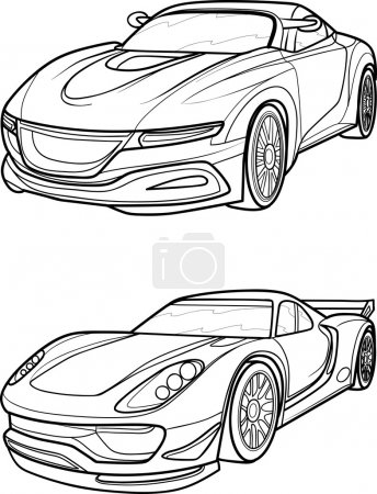 Outline drawing car.