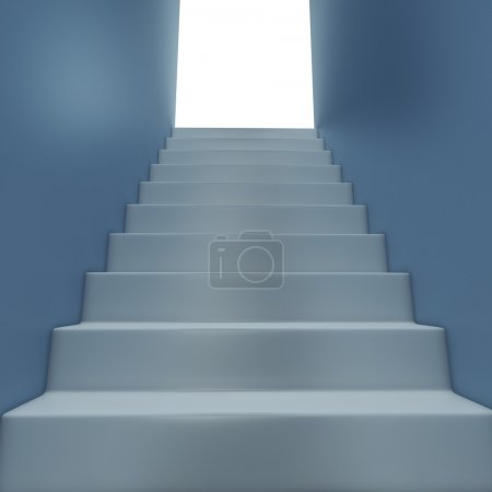 Photo for White staircase to the exit - Royalty Free Image