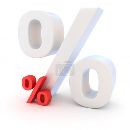 High and low rates of interest on the white background