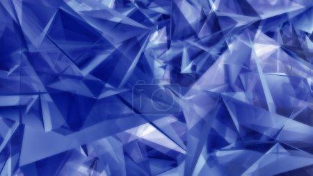 Photo pour Schéma de fond abstrait de formes triangulaires bleues géométriques mélangées aléatoirement dans plusieurs orientations - image libre de droit