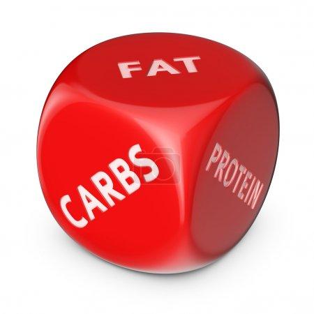 Photo pour Concept de régime alimentaire. gros dé rouge avec options. - image libre de droit