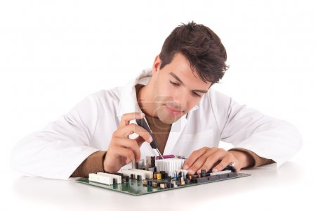 Photo for Happy and successful young computer engineer - Royalty Free Image