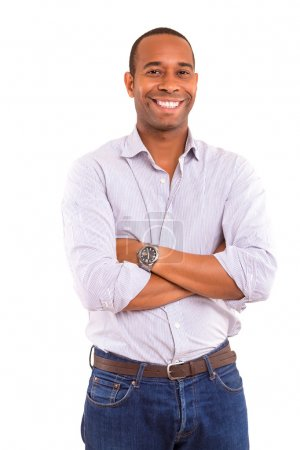 Photo for Young handsome african business man posing isolated over white - Royalty Free Image