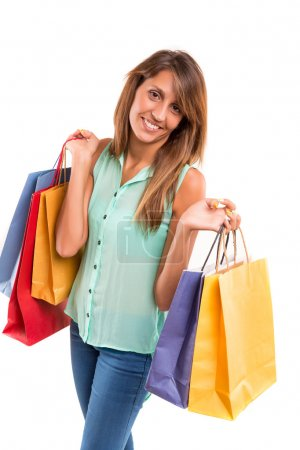 Photo for Happy beautiful woman with shopping bags - Royalty Free Image