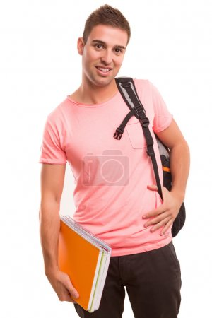 Photo for Young happy student posing isolated over white background - Royalty Free Image