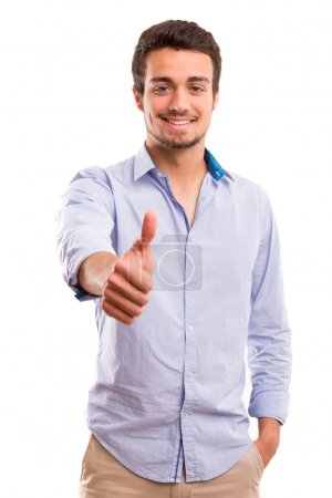 Photo for Handsome young man signaling ok, isolated over a white background - Royalty Free Image