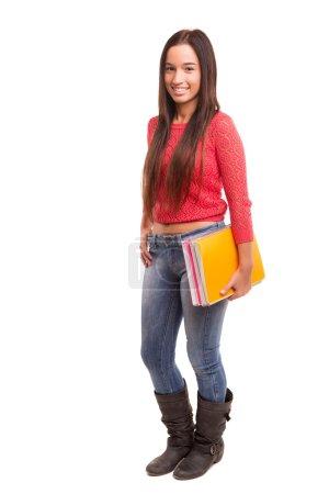 Photo pour Une étudiante asiatique heureux, isolé sur fond blanc - image libre de droit