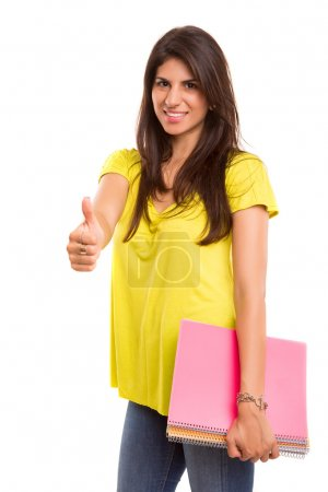 Photo for A beautiful student posing isolated over a white background - Royalty Free Image