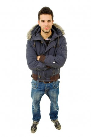 Young casual man dressed in winter clothes