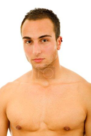 Photo pour Jeune homme sensuel sur fond blanc - image libre de droit