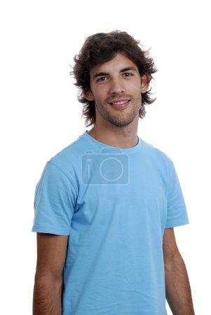 Photo pour Portrait de casual jeune homme isolé sur fond blanc - image libre de droit