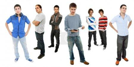 Photo pour Groupe de corps plein de jeunes hommes, isolé - image libre de droit
