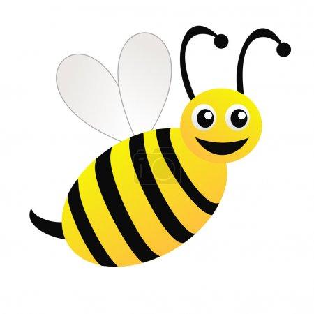 Photo pour Amusante abeille dessinée sur fond blanc, illustration raster - image libre de droit
