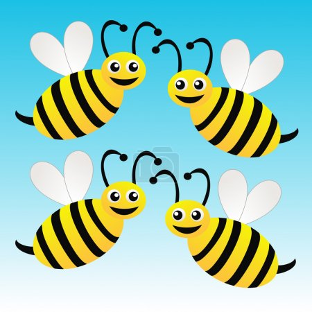 Photo pour Quatre abeilles dessinées amusantes sur fond bleu, illustration raster - image libre de droit