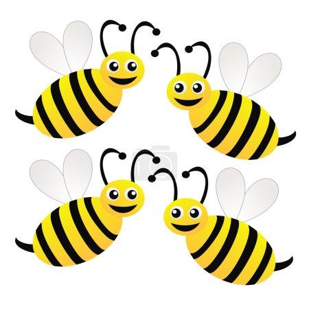 Photo pour Quatre abeilles dessinées amusantes sur fond blanc, illustration raster - image libre de droit