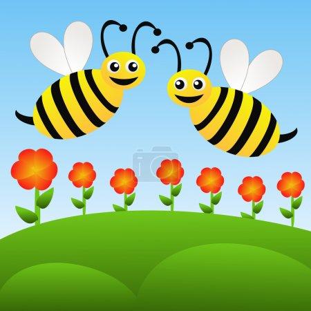 Photo pour Deux abeilles dessinées amusantes volent au-dessus des fleurs rouges sur un fond bleu, illustration raster - image libre de droit