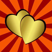 Dvě brilantní zlaté srdce na proužkovaném pozadí abstraktní