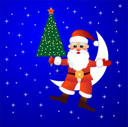 Santa claus sits on a moon with a fir-tree in hands