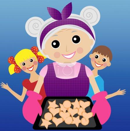Grandmother prepares a delicious dessert for grandchildren