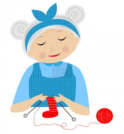 A merry grandmother binds socks