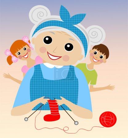 A merry grandmother binds socks for grandchildren