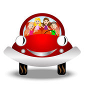 little child in red car