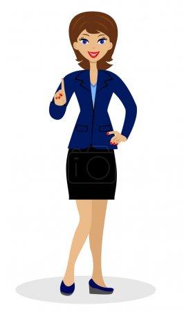 Illustration pour Une jeune femme d'affaires levant un index vers le haut, illustration vectorielle - image libre de droit