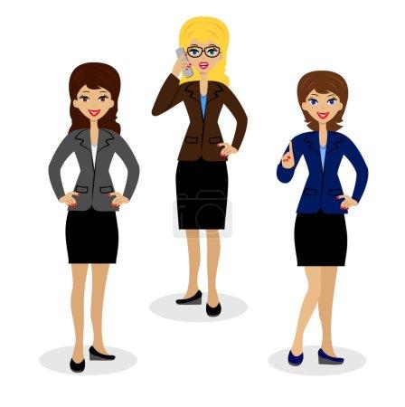 Illustration pour Trois femmes d'affaires réussies sur fond blanc, illustration vectorielle - image libre de droit