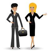 Two slender business woman on white background