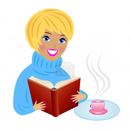 young woman with book and cup of tea