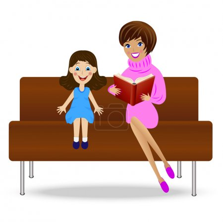 Young woman read book little daughter, sitting on sofa